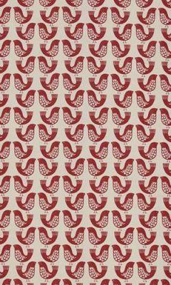 349 «Fantasy time» / 32 Scandi Birds Scarlet ткань