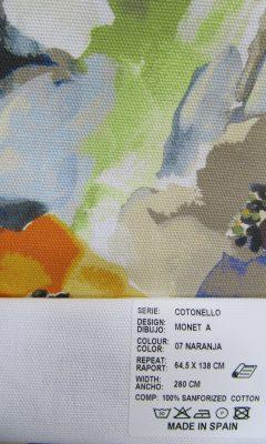 SERIE: COTONELLO DESIGN: MONET A. Colour 07 NARANJA ТКАНИ CASABLANCA